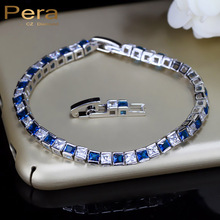 925 Sterling Silver Women Jewelry Austrian Royal Blue Square Sapphire Crystal Bracelets And Bangle For Christmas Gift B026