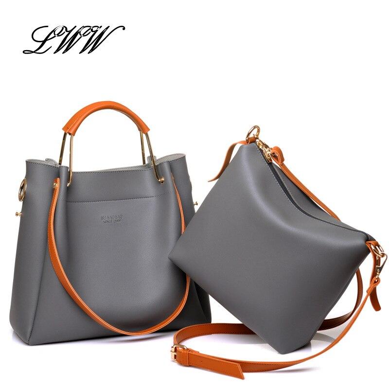 ФОТО Retro Two Piece Handbag Set Simple Solid Women Tote Bag Big Casual Women Shoulder Bags Fashion Designer Handbags High Quality