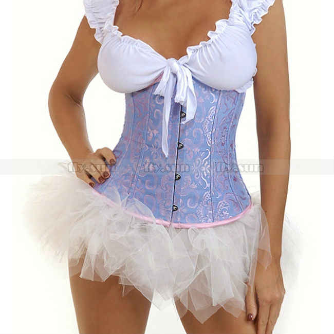 Синий на талию, с подгрудной завязкой корсет для тела корсеты и бюстье + белая юбка-пачка S M L XL 2XL S M L XL 2XL