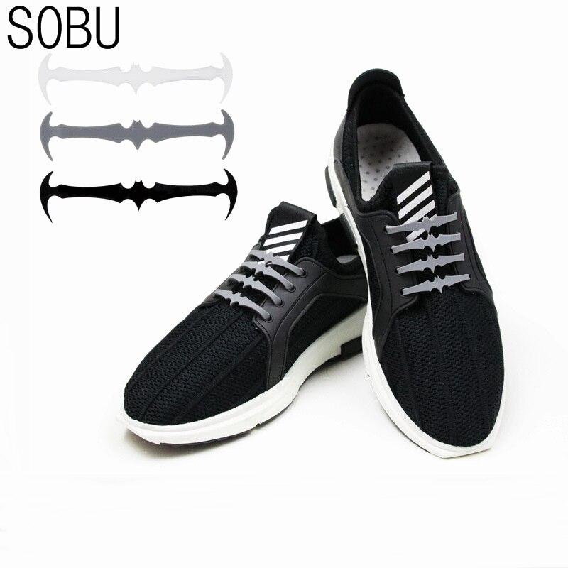 16pcs/lot Cool Bat modeling Shoelaces No Tie Shoelaces Unisex Elastic Silicone Shoe Laces For Men Women All Sneakers Fit Strap