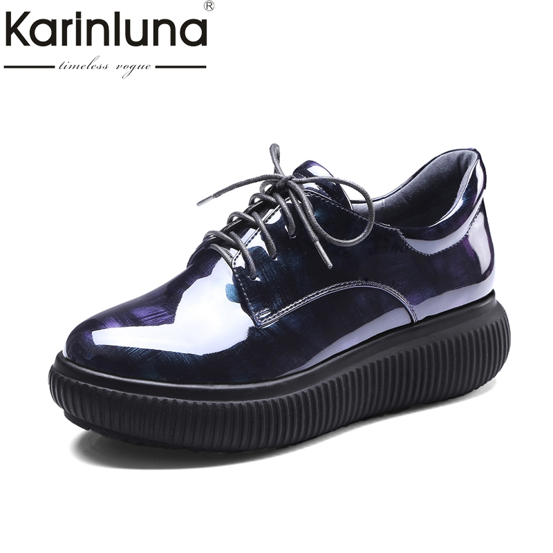 KARINLUNA  Round toe Women Shoes Woman Flats fashion Lace Up Flat Platform Shoes  Woman Leisure Loafers Spring Brogue Shoes new arrivals 2016 l solid plain lace up round toe platform flat heels comfortable flats sale women fashion shoes