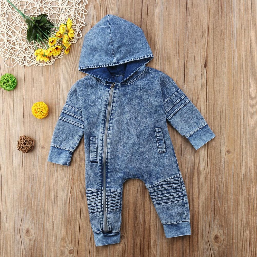 Newborn Kids Baby Boy Girl Clothing Denim Hooded   Romper   Long Sleeve Zipper Outfits Clothes Baby Girls 0-3T