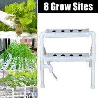 Plastic Hydroponic Grow Kit 8 Sites Ebb & Flow Deep Water Culture Nursery Pot Garden System Hydroponic Rack Supplies 2 Layers