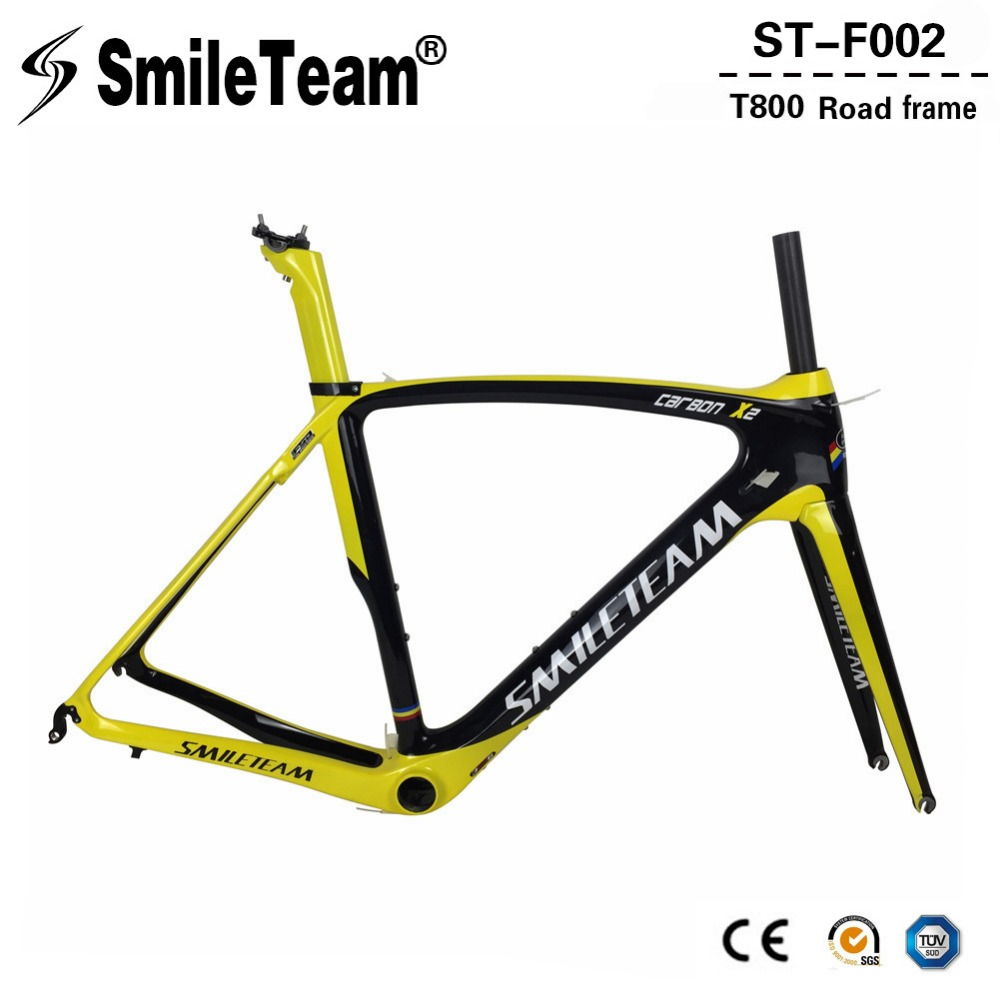 SmileTeam 2018 New Carbon Fiber Road Bike Frame Di2 & Mechanical Racing Bicycle Carbon Road Frameset With Fork Seatpost Headset 2018 t800 full carbon road frame ud bb86 road frameset glossy di2 mechanical carbon frame fork seatpost xs s m l og evkin