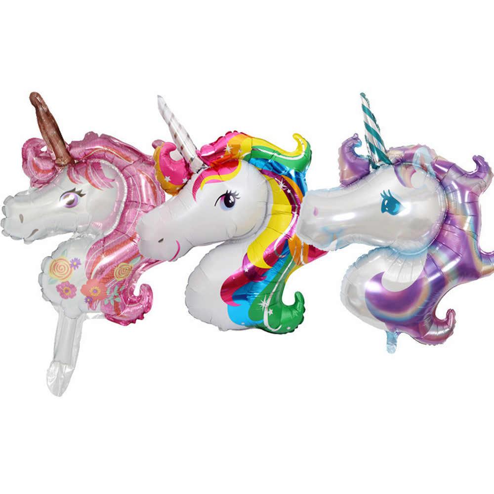 1 unidad Mini Unicornio fiesta globo de aluminio Unicornio aire Globos boda cumpleaños fiesta decoraciones niños juguete suministros