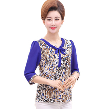 Women Summer Blouses Khaki Blue Leopard Print Crepe Tops Female Short Sleeve Bowknot Round Collar Tunic Woman Casual Blouse 2019