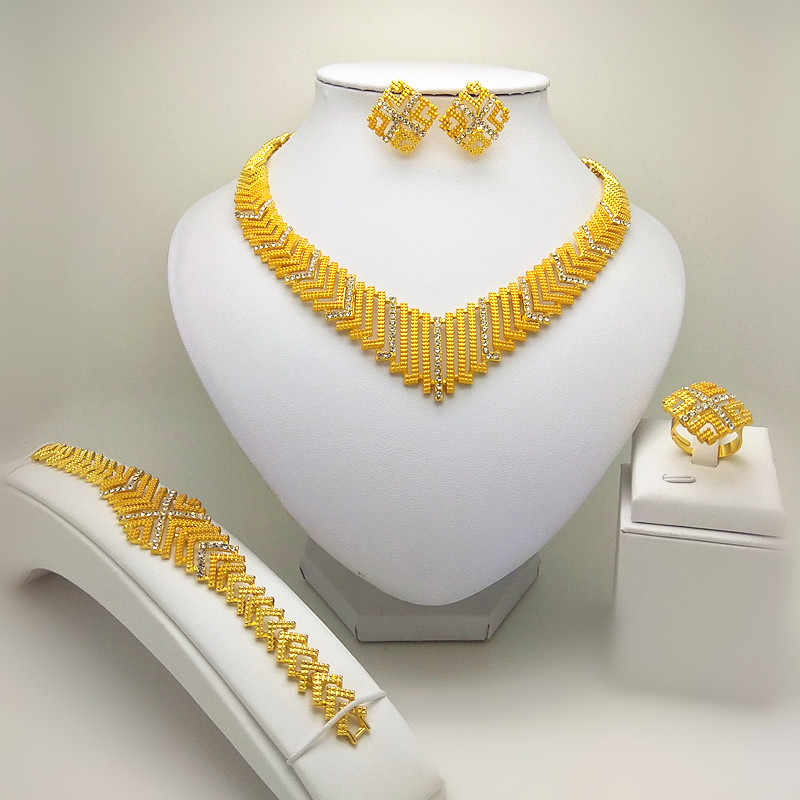 Königreich Ma Dubai Braut Big Schmuck Sets Nigerian Hochzeit Afrikanische Halskette Armband Ohrring Ring Schmuck-Set