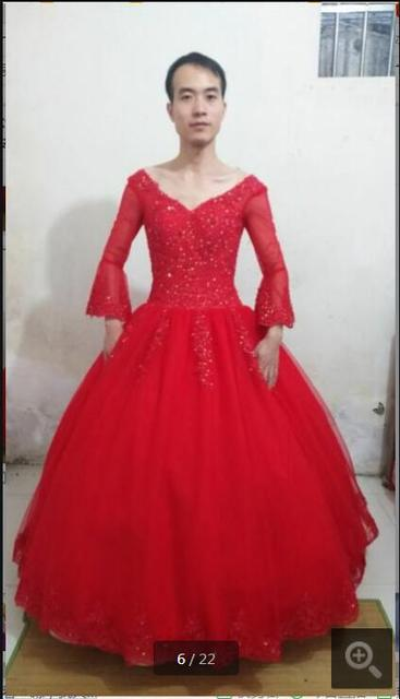 2017 real photo ballkleid rote spitze appliques hochzeitskleid ...