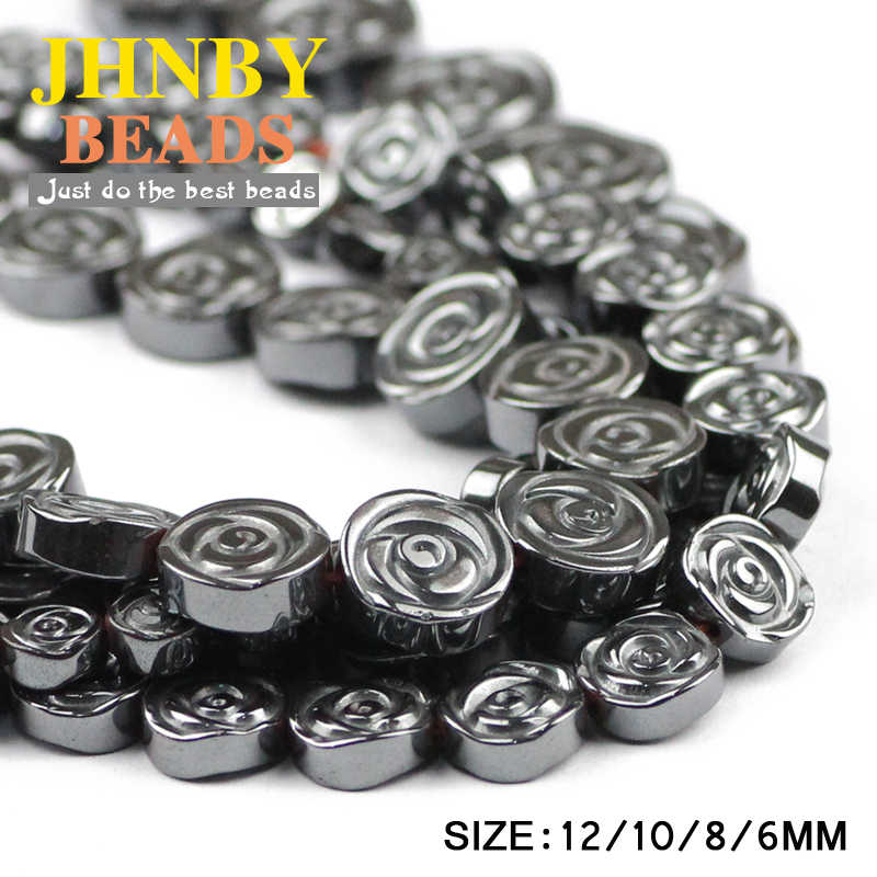 Jhnby AAA Bunga Mawar Hitam Hematite 6/8/10/12 Mm Batu Alam Datar Bulat Manik-manik Longgar perhiasan Gelang Membuat DIY Aksesoris
