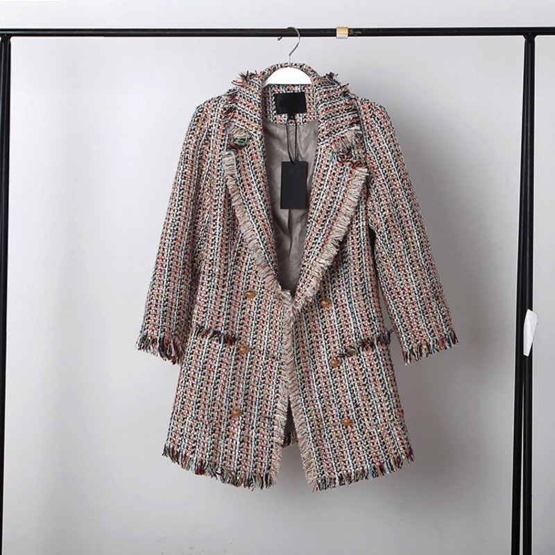 LANMREM 2019 New Spring Double breasted Blend Woolen Tassel Jacket For Women High Quality Irregular Patchwork Fashion Coat QF081-in Wool & Blends from Women's Clothing    1