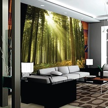 3D customized wallpaper mural  landscape painting with forest trees sunshine behind TV sofa bed as background in living room