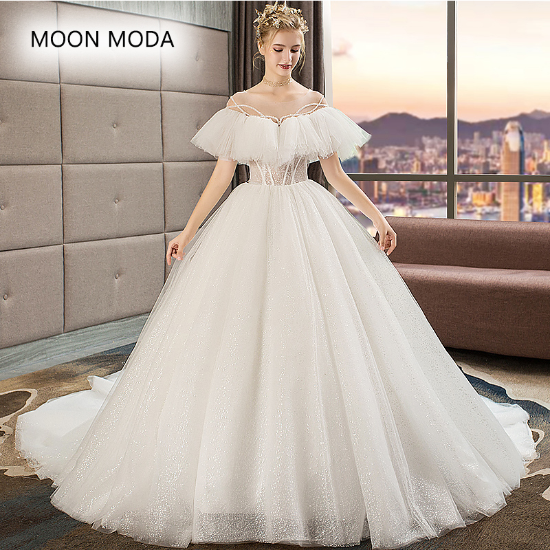 Wedding dress 2019 with bling plus size a line princess wedding gown with  crystal beading mariage vestido de noiva real photo