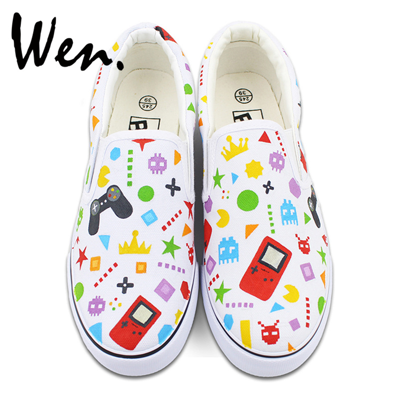 Wen Colorful Patterns Childlike Game Machine GamePad Original Hand Painted Shoes for Man Woman Canvas Sneakers Slip On Plimsolls