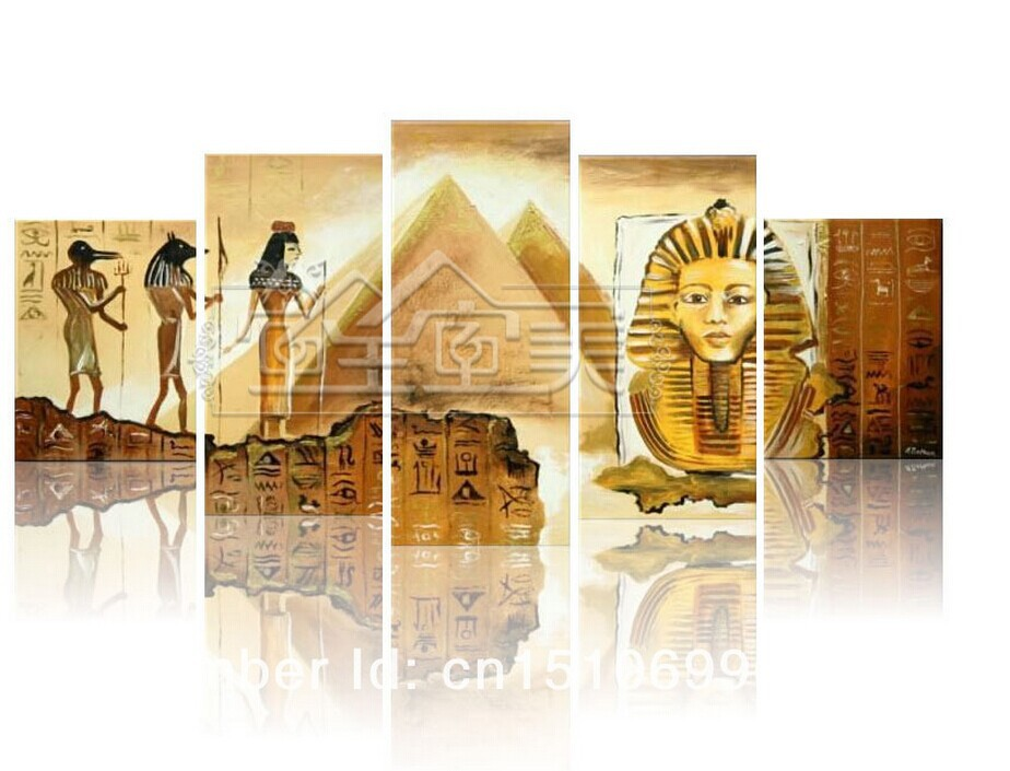 Free Shipping Hand Painted Oil Painting Canvas Five Even Egyptian Home Decorative Painting Decorative Painting