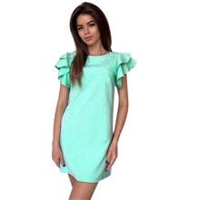 New Women's Summer Bodycon Solid Dress Ruffles Sleeve Backless Dresses Mini Dress Vestidos Au12