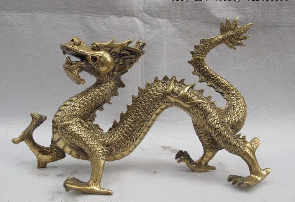 China Folk Refined Nice Bronze Brass Statue figurine LION