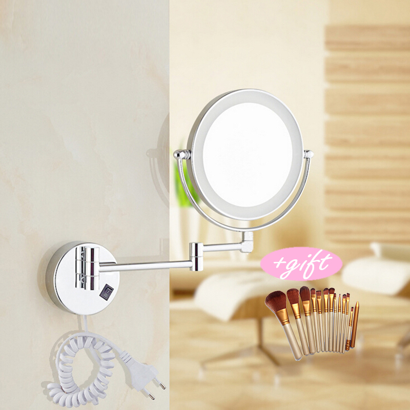Professional 8LED light Wall Mounted Round Magnifying Mirror LED Makeup Mirror battery make up ladys private mirrors For giftProfessional 8LED light Wall Mounted Round Magnifying Mirror LED Makeup Mirror battery make up ladys private mirrors For gift