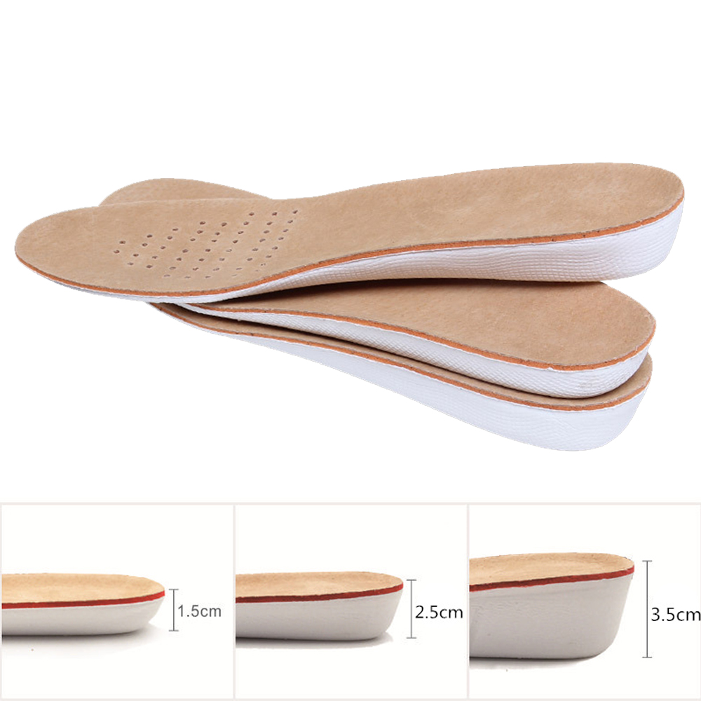 MWSC Unisex EVA Height Increasing Shoes Insoles Men Women Pigskin Shoe Pad Inserts Foot Care Pads Shoe Accessories kotlikoff arch support insoles massage pads for shoes insole foot care shock women men shoes pad shoe inserts shoe accessories