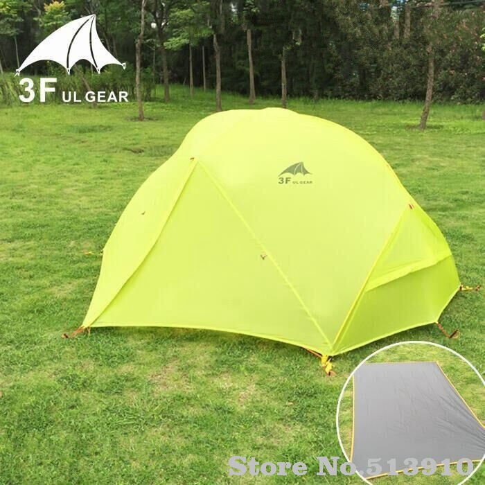 3f ul gear 2 Person 4 Season ultralight Professional silicone coated anti-rain anti-wind camping tent 15D &210T 3season/4season authentic august 4 8 person outdoor camping 1hall 1bedroom anti rain wind big traveling camping tent in good quality large space