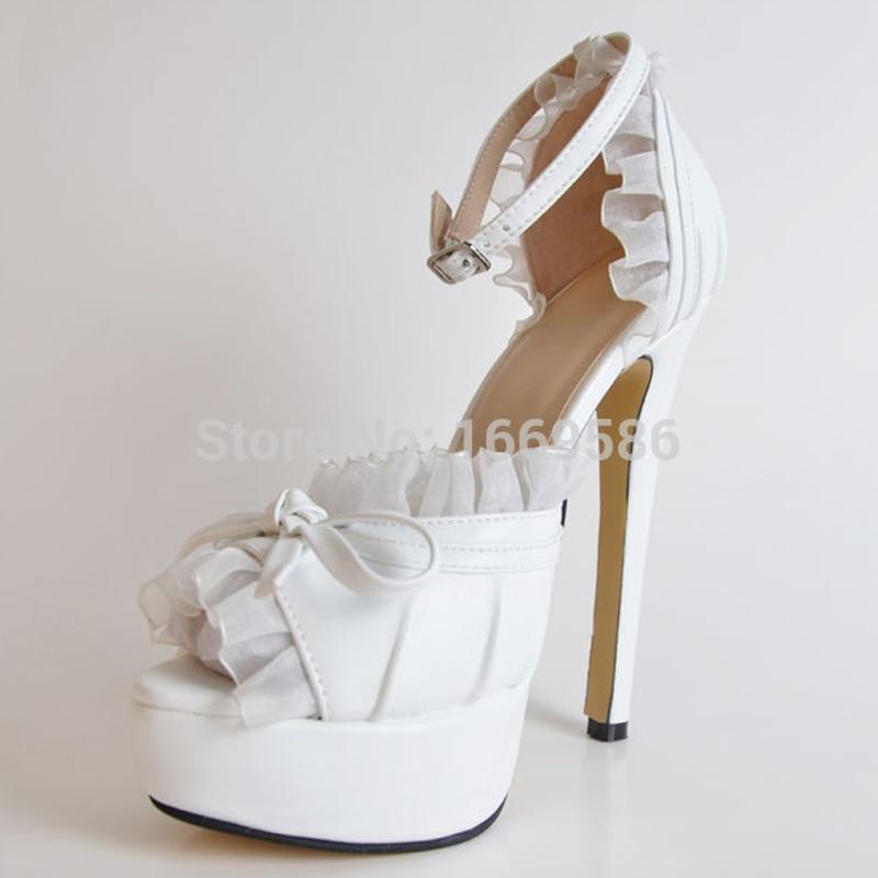 ФОТО Mavirs Fashion White Bride Princess Pumps Sandals Wedding Prom Lace Peep Toe Ankle Strap Platform High Heels Shoes for Women