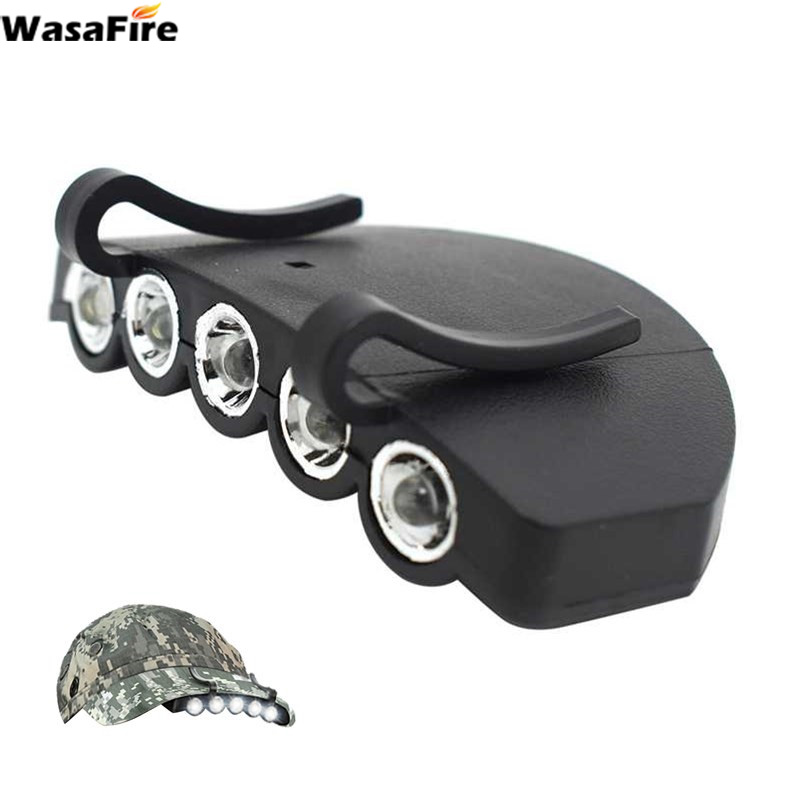 5 LED Headlamp Forehead Head Flashlight Cap Light Bright Hat Light Clip On Light Fishing Camping Head Lamp With Battery