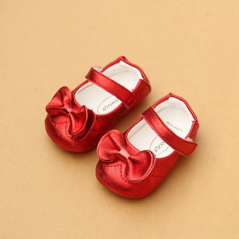 Spring New Female Baby Shoes 0-1-2 Infant Toddler Soft Bottom First Walkers Soft Sheepskin Princess Leather Shoes EU 14-18