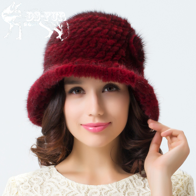 2016 New trend Fashion Real Mink Fur Hats For Women Winter Knitted Mink Fur Beanies Caps Thick Female Cap Russian Woman Warm Hat