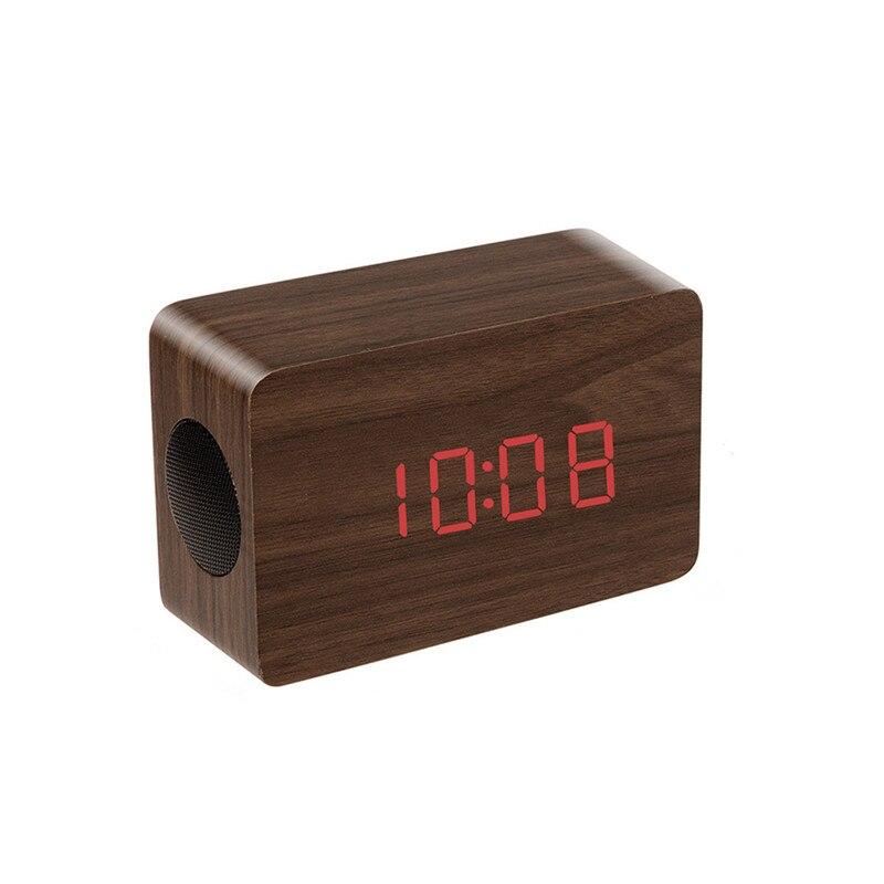 2018 new arrival 2.0 Wireless Bluetooth Speaker Built-in Qi Wireless NFC Alarm Clock Time Display calendar Stereo Sound Box Wood