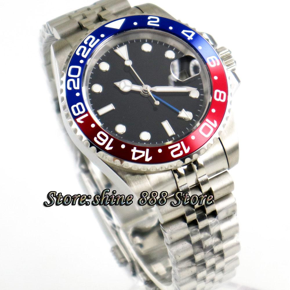 40mm PARNIS black sterile dial Pepsi bezel Jubilee steel strap Sapphire Blue GMT automatic mens watch