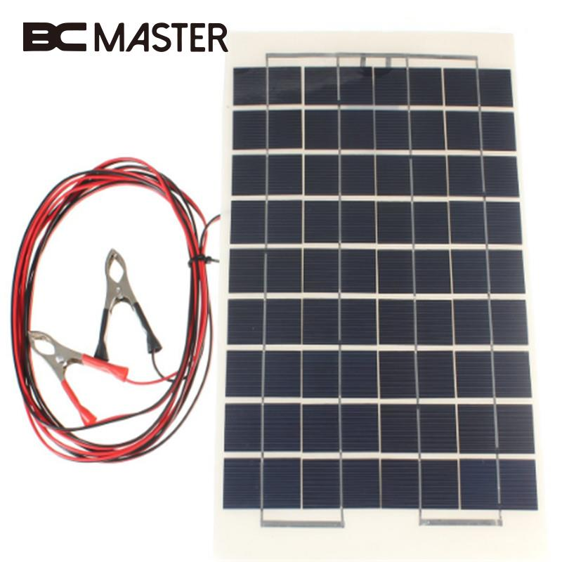 BCMaster Portable 12V 10W Solar Panel Battery Charger battery Boat Car Camping Supply Power Solar Cells with Clips 100w folding solar panel solar battery charger for car boat caravan golf cart