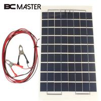 BCMaster Portable 12V 10W Solar Panel Battery Charger battery Boat Car Camping Supply Power Solar Cells with Clips