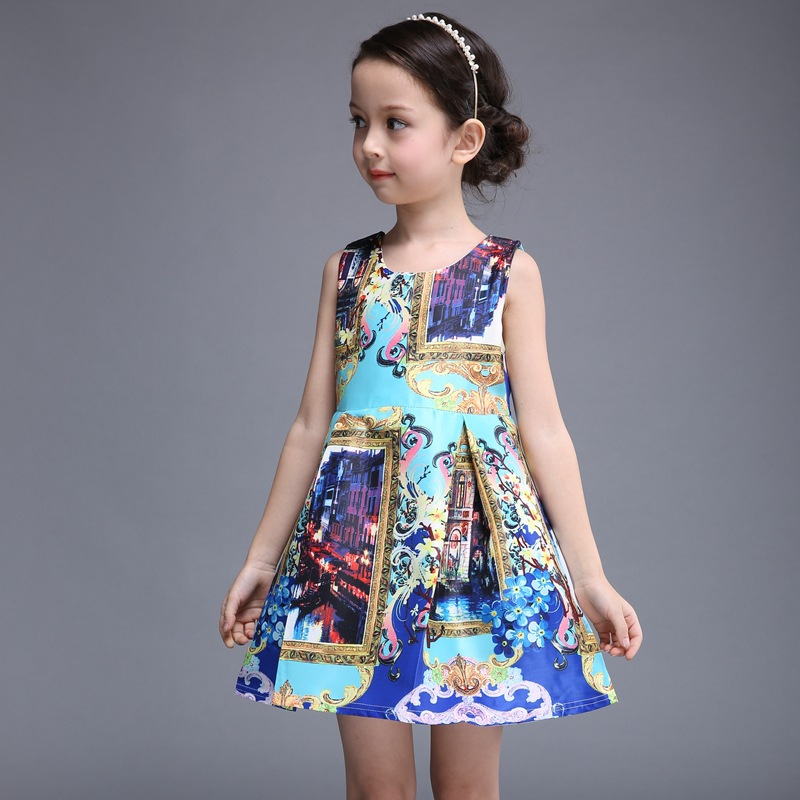 b3bf38fdf64 US $22.99 |2016 New Fashion Baby Sleeveless Elegant Dresses Princess  Patterened Printing Kid Dress Kids Clothes Age 3 7T Blue-in Dresses from  Mother & ...