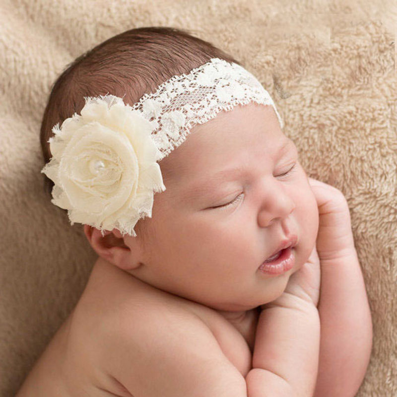 New Shabby Flower with Pearl on Elastic Lace Headband Girl Hair Accessories Flower Headband 1PC original acf ac 11800y 16 1 0mmx100m tape