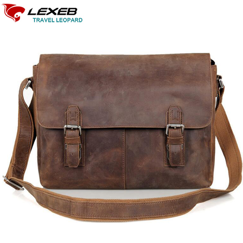 LEXEB Buffalo Leather Messenger Bags For Men, Casual Cross-Body Sling Bags Fit 15 Laptop, Twin Buckles Flap-Over Satchels Brown casual canvas satchel men sling bag