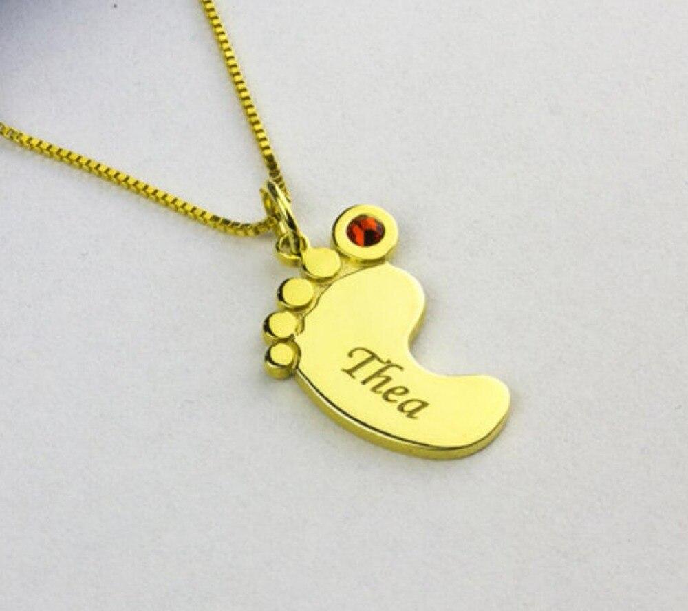 Collier personnalisé pierre de naissance personnalisé nom de bébé collier femmes pieds gravé collier nouveau cadeau maman anniversaire nouveau-né