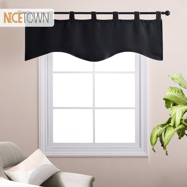 NICETOWN Blackout Tab Top Short Curtains Natural Scalloped Valances Window  Treatments For Bathroom Kitchen Window
