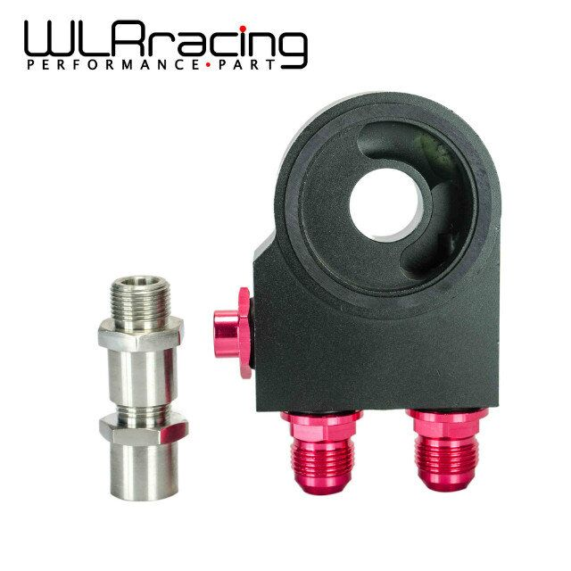 WLR RACING - Oil Filter Sandwich Adaptor With Thermostat AN10 fitting M20*1.5 And 3/4- 16 Oil Sandwich Adapter WLR5673BK wlring oil filter sandwich adaptor for high quality oil filter remote block with thermostat 1xan8 4xan10 orb female wlr6744