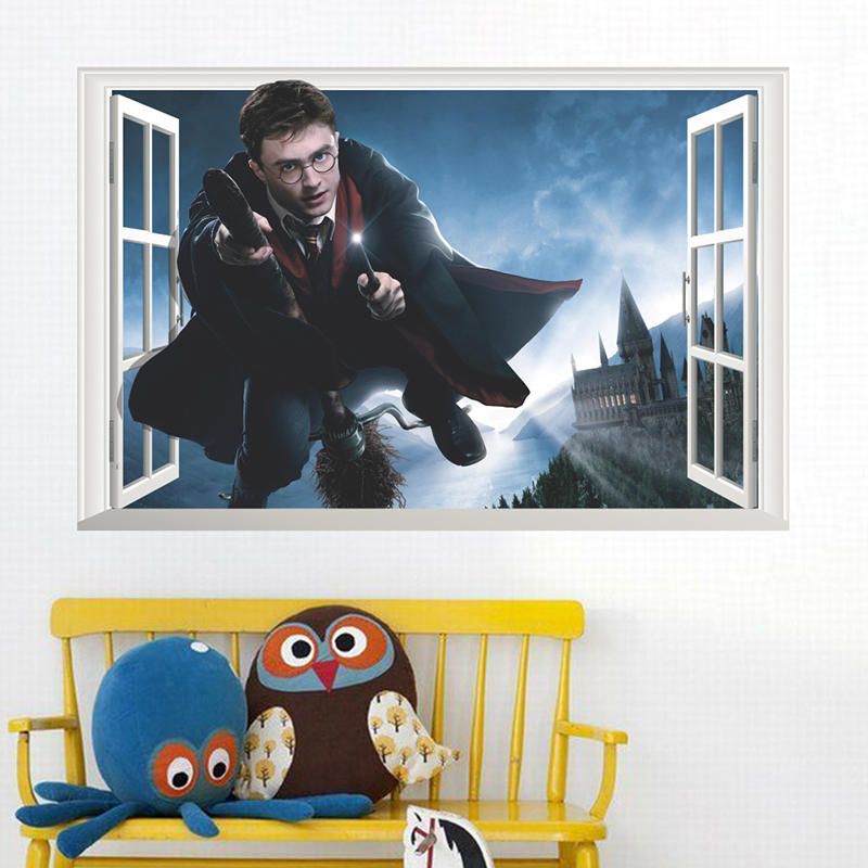 3D Windows Harry Potter Hogwarts Wall Stickers Poster Wizarding World School PVC Decoration For Kids Room Decal Decorative Decor