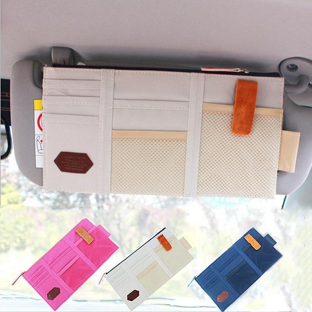 Auto Sunshade Storage Bag Car Sun Visor CD Holder Car Sunshade Cover Card Bag Mobile Phone Bag Multi Function