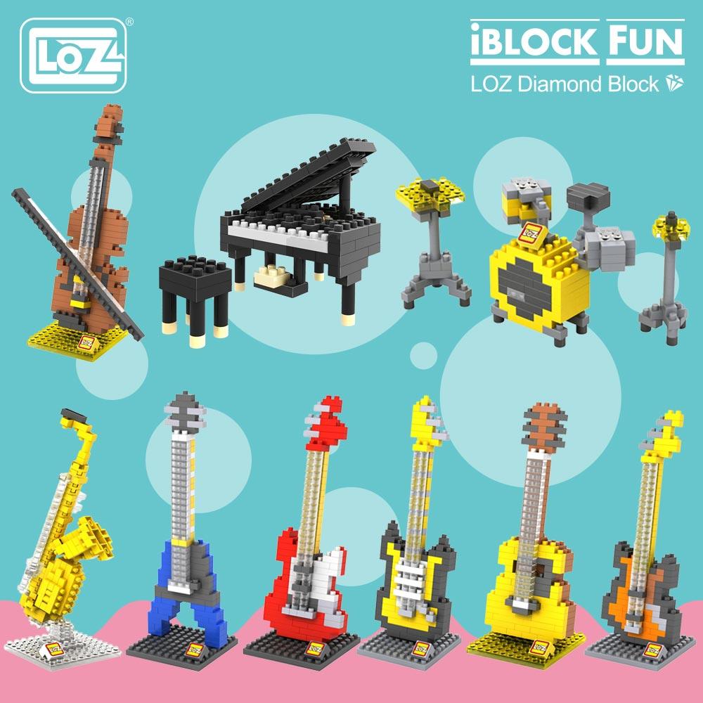 LOZ Diamond Blocks Miniature Musical Instruments Music Guitar Piano Violin Jazz Sauce Model Plastic Assembly Toys Kids 9188-9196