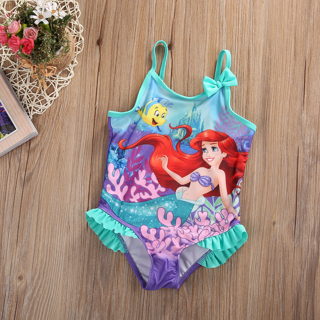 inlzdz Baby Girls One-Piece Swimsuit Mermaid Ruffled One-Shoulder Swimwear Bathing Suit