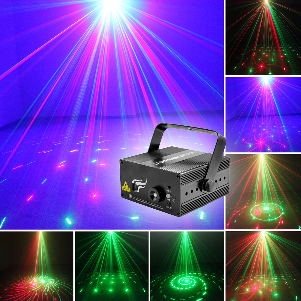 Mini 2 Lens 12 Patterns RG Full Color LED Stage New Year Christmas Decor Laser Light Projector DJ Disco Party Bar Lights (US EU) kmashi snowflake projector lights outdoor led laser stage chrismas halloween decoration light for dj bar party garden home eu us