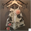 Baby Girl Floral Clothes Set 20156 Girls All-match 2pcs Shorts Suit Slip Shirts+shorts Summer Cool Wear 1-7years