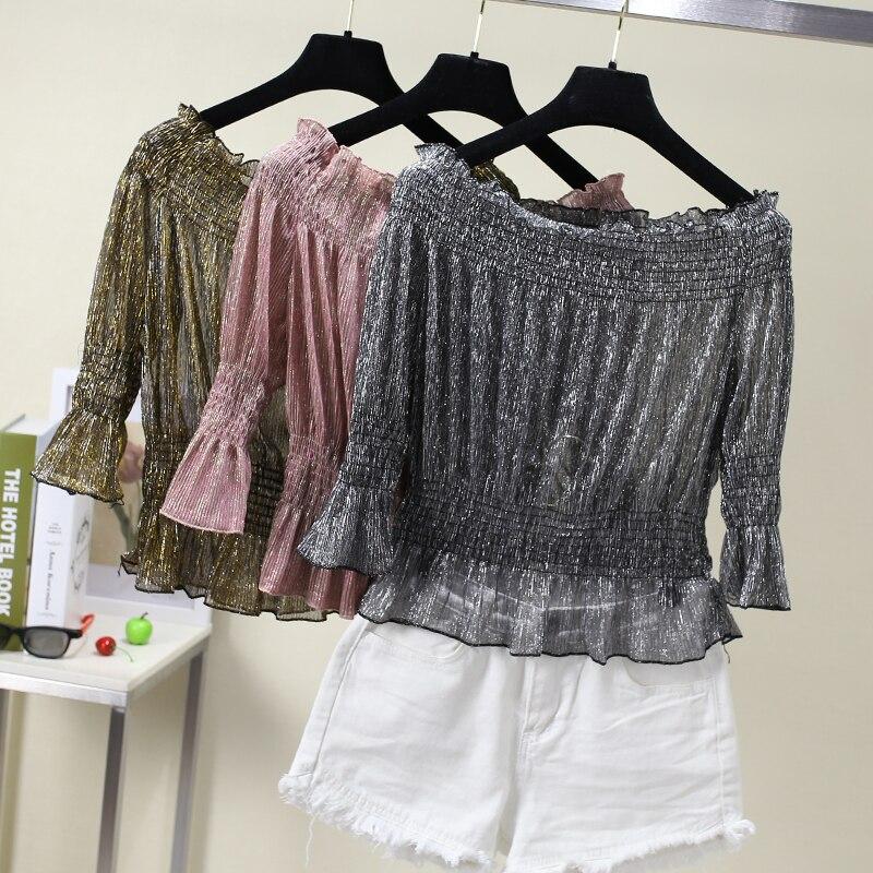 DOSOMA Gold Off Shoulder Chiffon Shirt For Women Tunic Elastic High Waist Tops Summer Slash Neck Femela Blouse Casual Korean