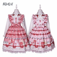 Cute Japanese Lolita Lace Dress Bunny Strawberry Bow Print 2018 Vestidos Sleeveless Suspender JSK Women Party Dresses Summer