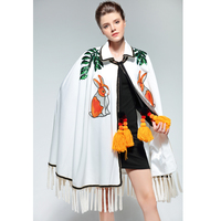High Quality Winter Fashion Cloak Coat Women Outerwear Coats Casual White Rabbit Embroidery Sequin Tassel Cape Poncho Overcoat