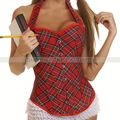 Red Plaids Halter Corset Overbust Boned Bustier Lace Up Basque School Girl Costune Shapewear S M L XL 2XL