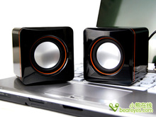 Black mini portable speakers computer laptop speaker with sound channel 2.0 USB plug and 3.5mm headphone jack