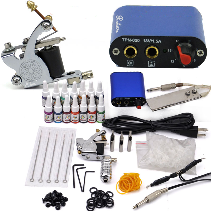 Rotary Tattoo Kit Tattoo Machine Set with Color Inks professional Tattoo gun Power Supply Power Tip Tube And Needles body art beginner tattoo kit 2 machine gun with lcd tattoo power inks supply free shippiing