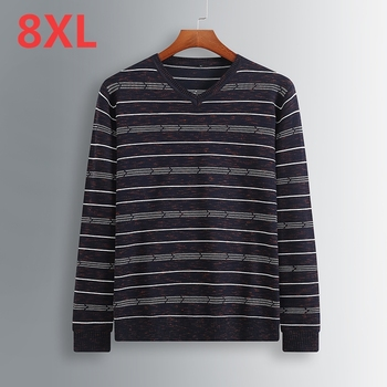spring and autumn 2018 new Plus size 8XL 7XL 6XL 5XL Brand Mens Sweaters New v-Neck Pullovers Patchwork Pattern Sweaters Men